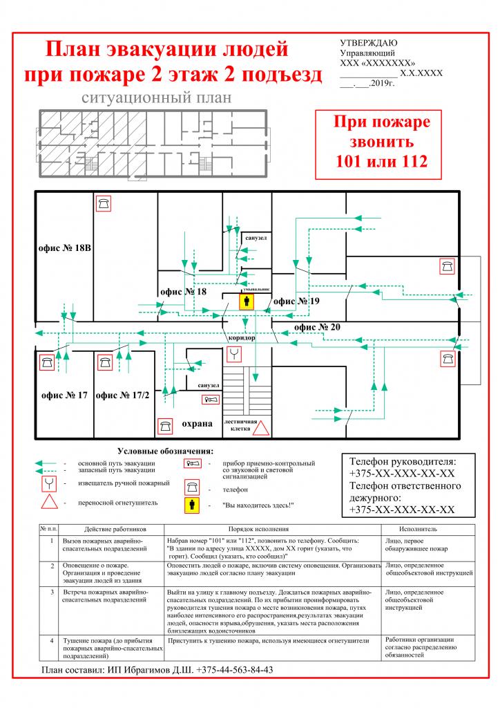 план эвакуации людей при пожаре образец
